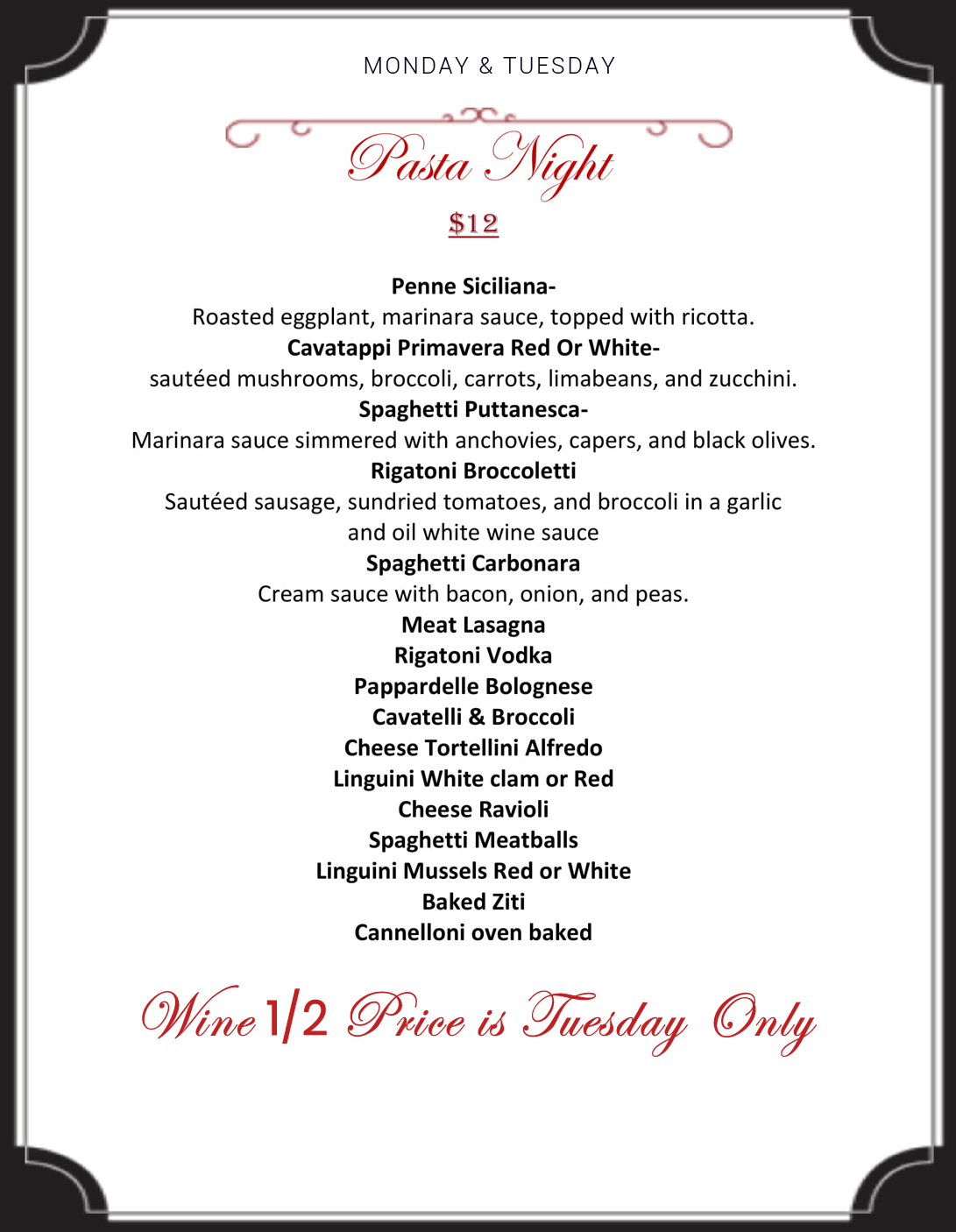 pasta night menu at Ciro's Ristorante NJ